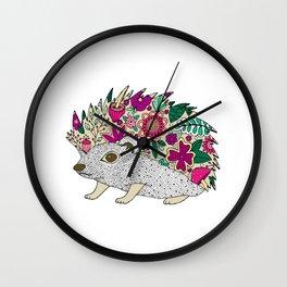 Woodland Hedgehog Illustration Wall Clock