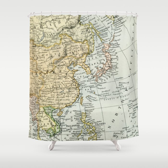 China Russia Japan Vintage Map Shower Curtain By Graphikz