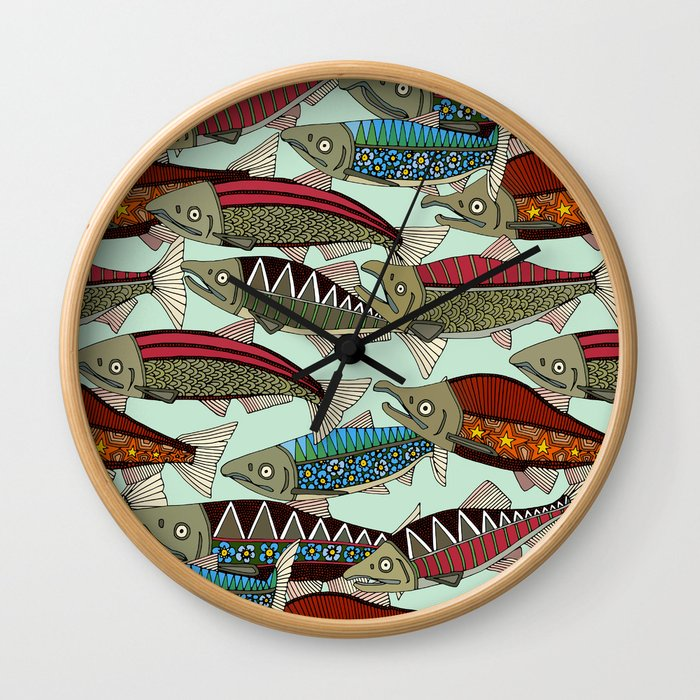 Alaskan salmon mint Wall Clock