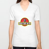 parks V-neck T-shirts featuring Jurassic Parks And Rec by anthonykun