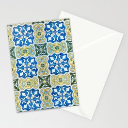 Seamless Floral Pattern Ornamental Tile Design : 6  blue, yellow Stationery Cards
