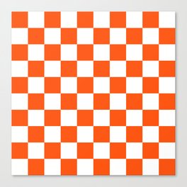 Cheerful Orange Checkerboard Canvas Print