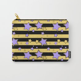 Purple stars on black and yellow striped Carry-All Pouch
