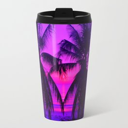 Pink Palm Trees by the Indian Ocean Travel Mug
