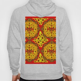LACY RED-GOLD YELLOW SUNFLOWERS & MONARCH BUTTERFLIES Hoody