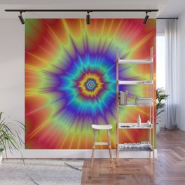 Blasted Blue Red and Yellow Wall Mural