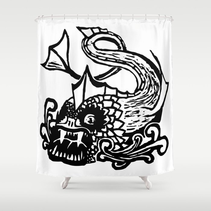 Demon Fish Wood Block Print Shower Curtain