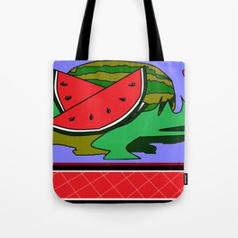 Watermelon with flower and red tile Tote Bag
