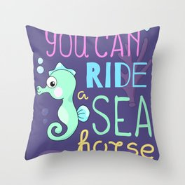 Underwater Cartoon Poster with Seahorse Throw Pillow