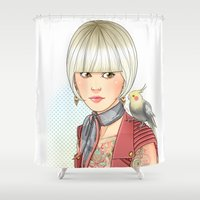 birdy Shower Curtains featuring Birdy by Lotty