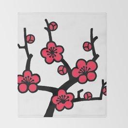 Japanese Plum Tree Throw Blanket
