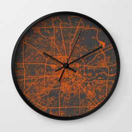 Houston map orange Wall Clock