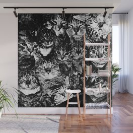 cat collage our beloved kitten cats watercolor splatters black white Wall Mural