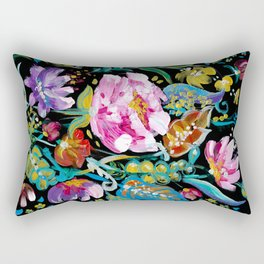 Colorful floral abstraction #1 acrylic painting flowers on a black background Rectangular Pillow