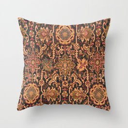Floral Medallion I // 18th Century Colorful Blue Lime Green Pink Sapphire Plum Burlap Brown Pattern Throw Pillow