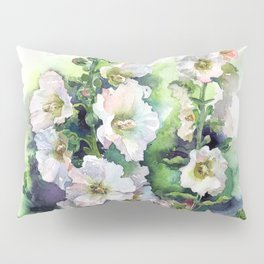Watercolor Hollyhocks white flowers Pillow Sham