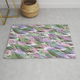 Feather Fancy — Soft Greens • Pinks • Voilets Rug