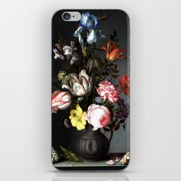 Flowers In A Vase With Shells And Insects iPhone Skin