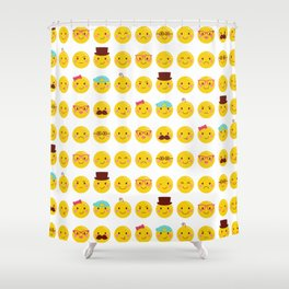 Cheeky Emoji Faces Shower Curtain