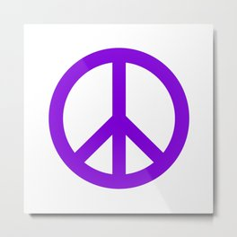 Peace (Violet & White) Metal Print