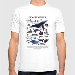SEA CREATURES poster with names T-shirt