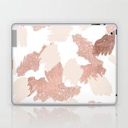 Modern rose gold faux glitter brushstrokes blush pink Laptop & iPad Skin