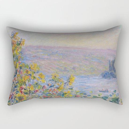 Flower Beds at Vetheuil by Claude Monet Rectangular Pillow