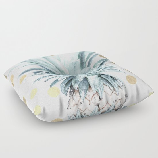Pineapple crown - gold confetti Floor Pillow