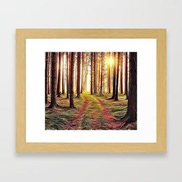 Golden Woodland Track Airbrush Artwork Framed Art Print