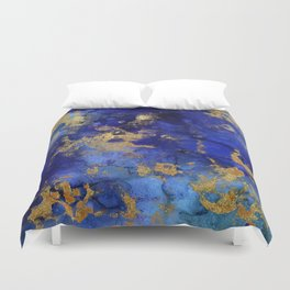 Gold And Blue Indigo Malachite Marble Duvet Cover