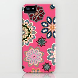Flower retro pattern in vector. Blue gray flowers on pink background. iPhone Case