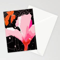 Creativity play - butterflies and flowers on a black background Stationery Cards