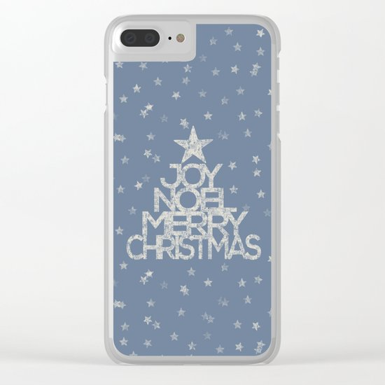Joy-Noel-Merry Christmas- Typography and stars on fresh wintry grey Clear iPhone Case