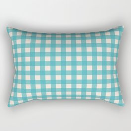 Buffalo Checked Plaid in Turquoise and Cream Rectangular Pillow