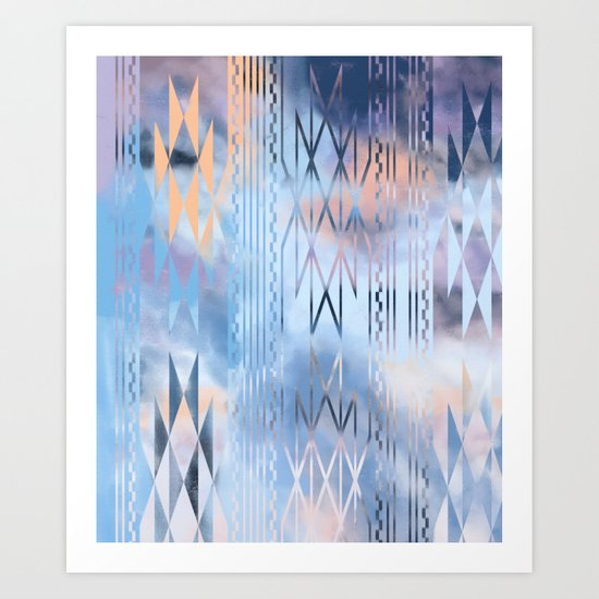Blue Tribal No.1 Art Print