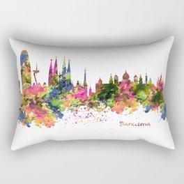 Barcelona Watercolor Skyline Rectangular Pillow