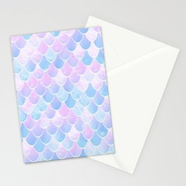 Mermaid Art, Pastel, Pink, Blue and White Stationery Cards