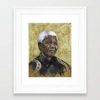 mandela Framed Art Prints featuring Mandela by SaraGolish