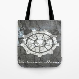Fallout inspired welcome home, vault door, print, poster, wall art, neutral Tote Bag