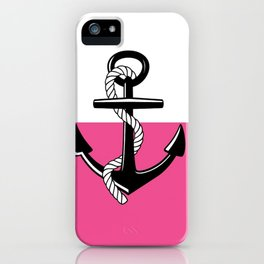 Anchor Stripes LG - Hot Pink iPhone Case