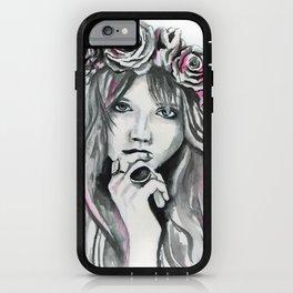 Watercolour Fashion Illustration Portrait Abbey Lee & Flowers iPhone Case