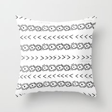 mudcloth 5 minimal textured black and white pattern home decor minimalist Throw Pillow