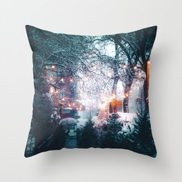 Snowy Lane Lights (Color) Throw Pillow