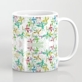 Fly mosquito insects in flight on a white background with an inscription Coffee Mug