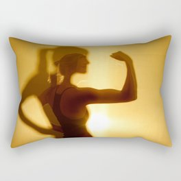 Silhouette Of Woman Flexing Bicep Muscle Rectangular Pillow