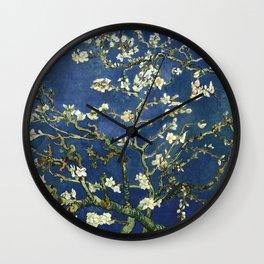 Almond Blossom - Vincent Van Gogh (dark blue) Wall Clock