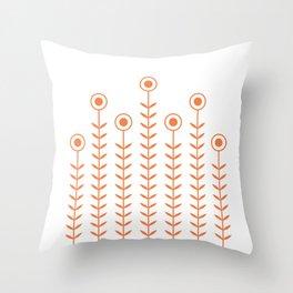 Minimalist Flowers (Celosia Orange) Throw Pillow