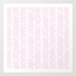 Handpainted Chevron pattern light pink stripes Art Print
