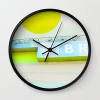 santa monica Wall Clocks featuring Santa Monica Library v3 by Cally Creates