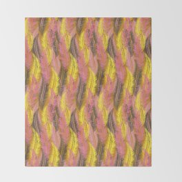 Feathers Stripe - Coral Pink and Yellow Throw Blanket